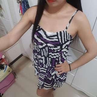 ⬇繼續五折#女裝五折出清  香港專櫃品牌2% +-×÷ 雪紡性感前短後長小洋裝