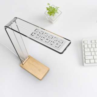 LED Bamboo Table Reading Light Touch Sensitive Lamp Wood Concise Design