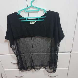 ⬇繼續五折#女裝五折出清  香港專櫃品牌2% 性感透明黑網上衣/泳衣罩衫