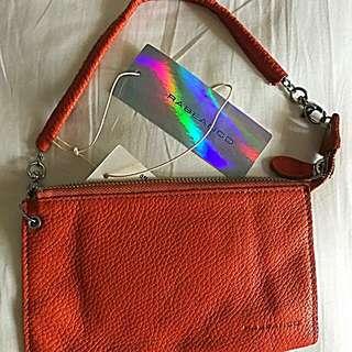 Rabeanco Leather Wristlet/wallet, orange/mandarin color