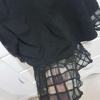 ⬇繼續五折#女裝五折出清  正韓黑色拼透明網狀上衣