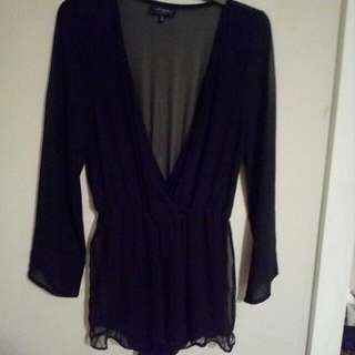 Beautiful Black Chiffon Playsuit
