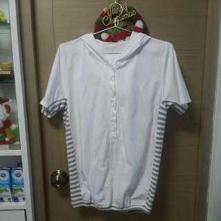 韓版韓風 白色有帽間條上衣襯衫 修身顯瘦