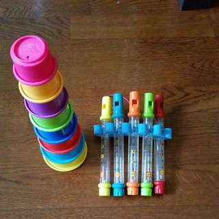 Bath Toys.. Stacking Cups With Numbers And Holes.. And Water Flutes