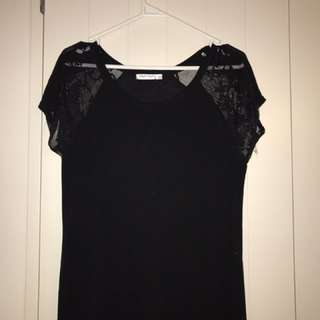 Black Lace Sleeve Tee