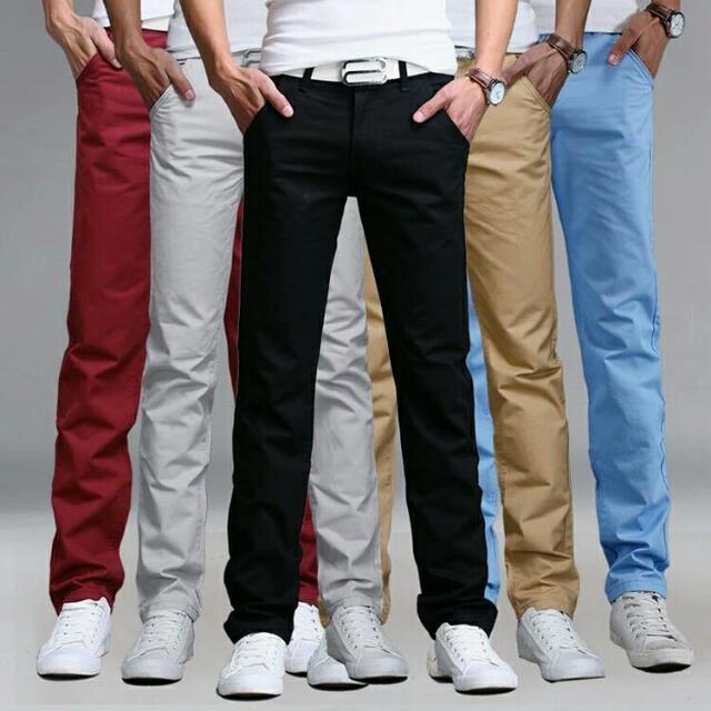 New Fashion Mens Pants Straight Cargo Pants Chinos Men Casual Slim