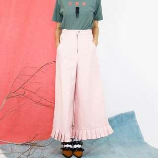 🦄 淡粉紅色 摺子寬寬寬寬褲 高腰