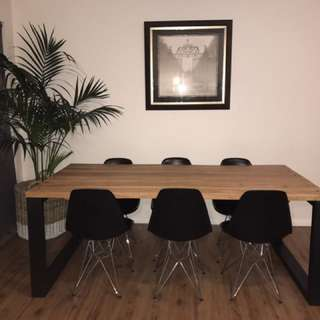 Hardwood Industrial Dining Table