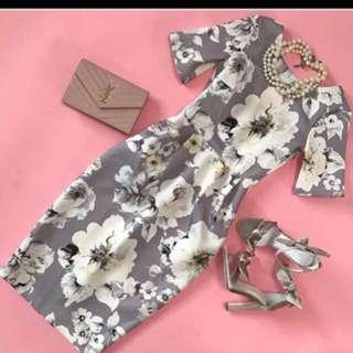 floral gray midi dress