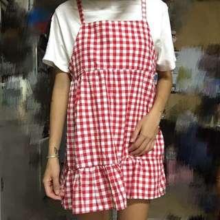 古著 格子 格紋 細肩帶 娃娃裝 連身裙