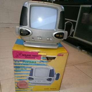 Portable Black N White TV With Radio