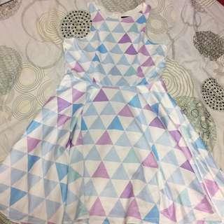 緞面幾何小洋裝