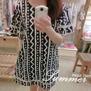 韓國-幾何線條棉麻洋裝