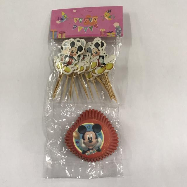 24pcs Mickey Cupcake Liner with Toothpick