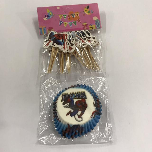 24pcs Spiderman Cupcale Liner w/ Toothpick