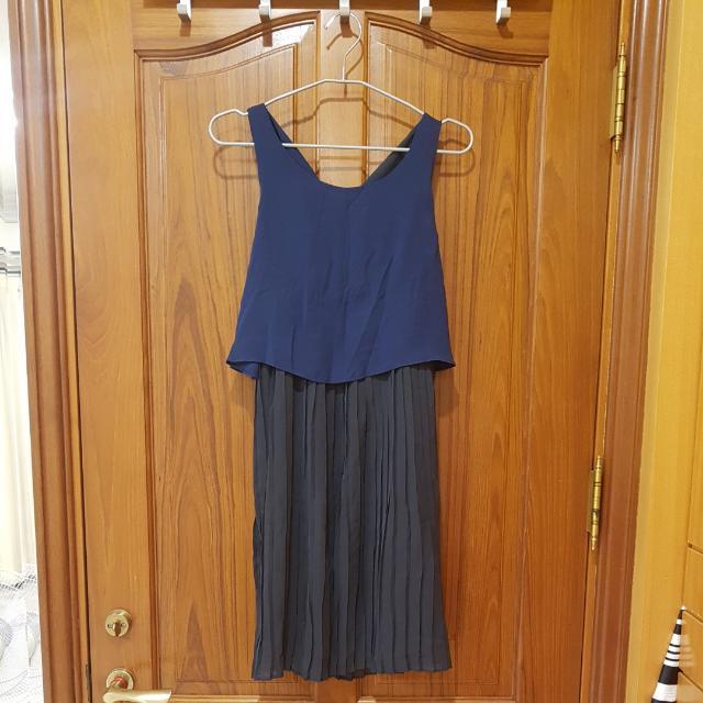 雪紡洋裝連身裙(深藍)