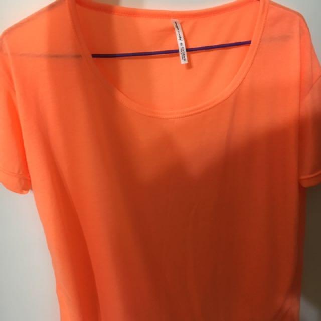 螢光橘短袖上衣