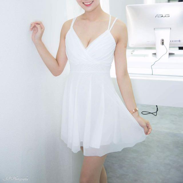 雪紡白洋裝