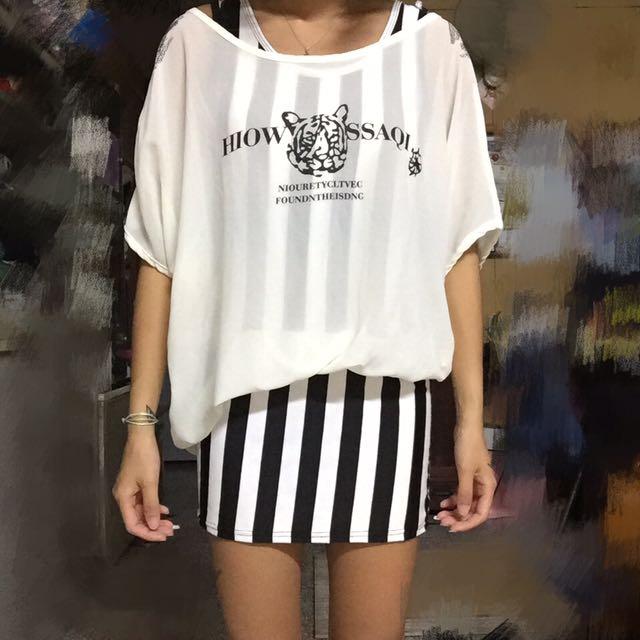 老虎 兩件式 長版上衣 連身裙