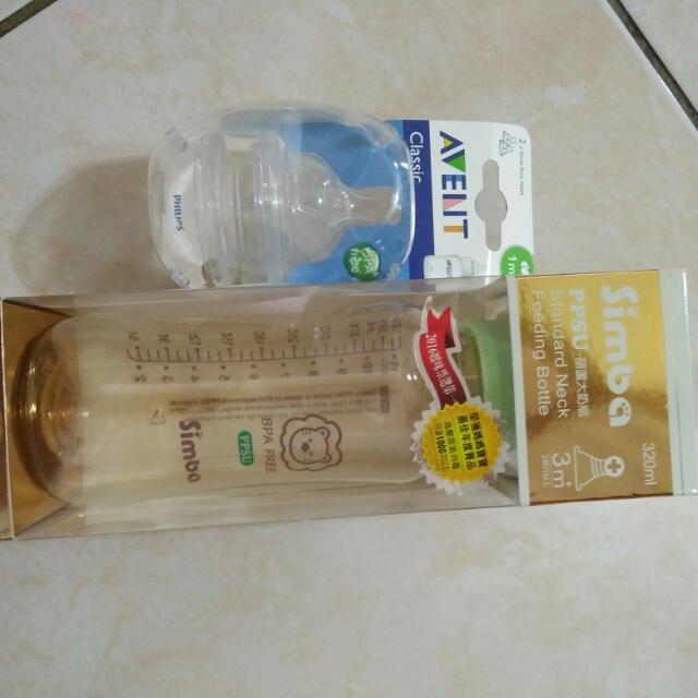 玻璃奶瓶+新安怡奶嘴