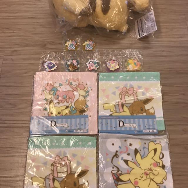 全新 日本超商2017限定神奇寶貝皮卡丘吊飾.方巾.最後賞大玩偶