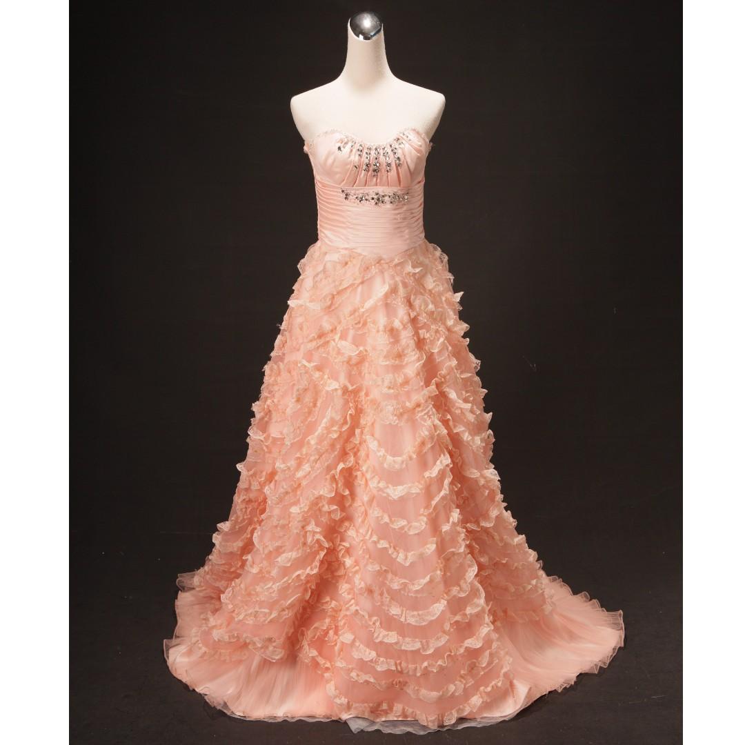 粉橘平口蛋糕裙小拖尾禮服 二手婚紗 二手禮服 七成新