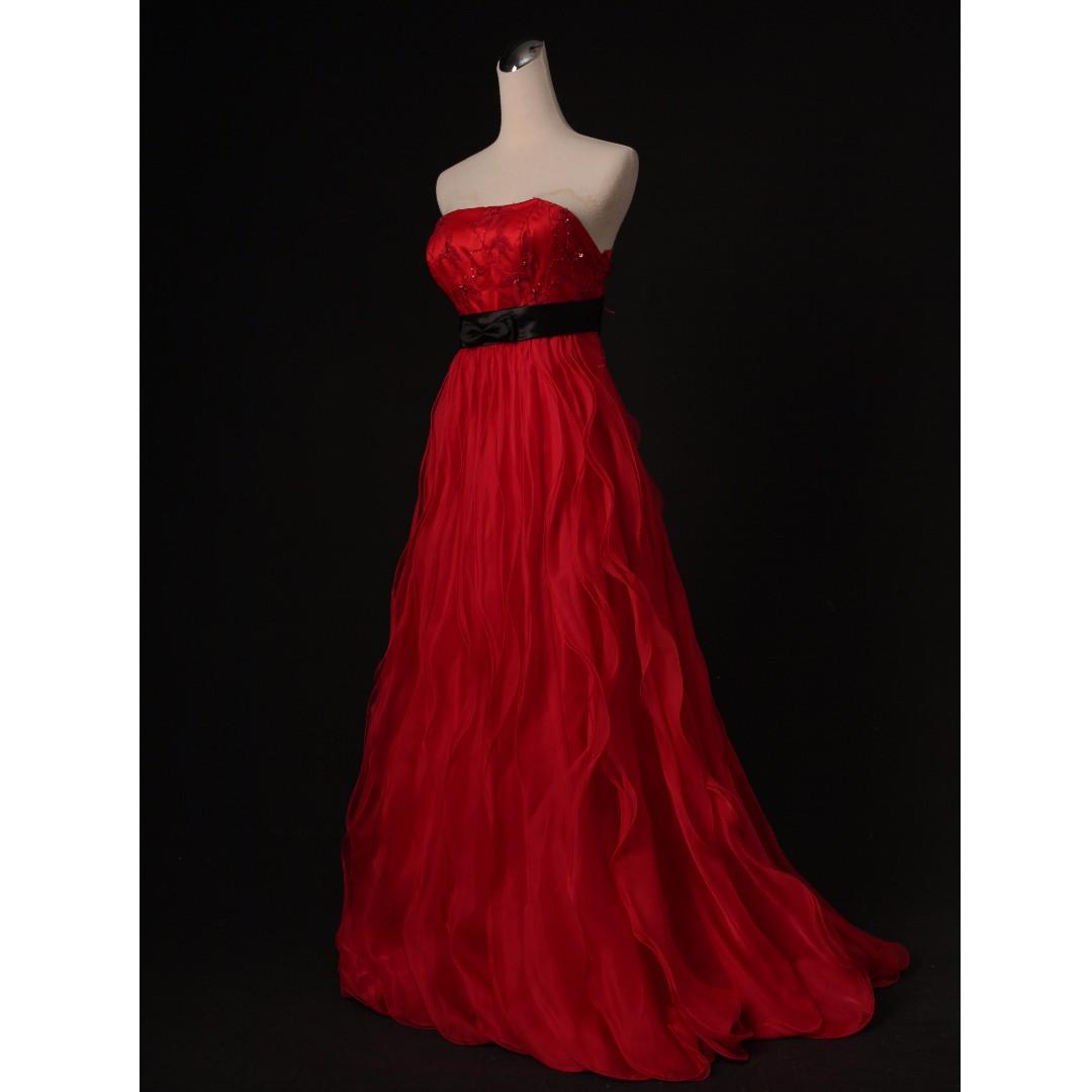 紅色平口波浪裙擺禮服 七成新到八成新 二手禮服 二手婚紗