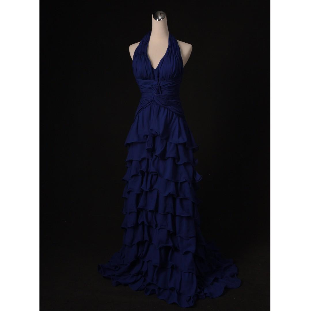 藍色繞頸設計 波浪裙襬禮服 二手婚紗 二手禮服 七成新