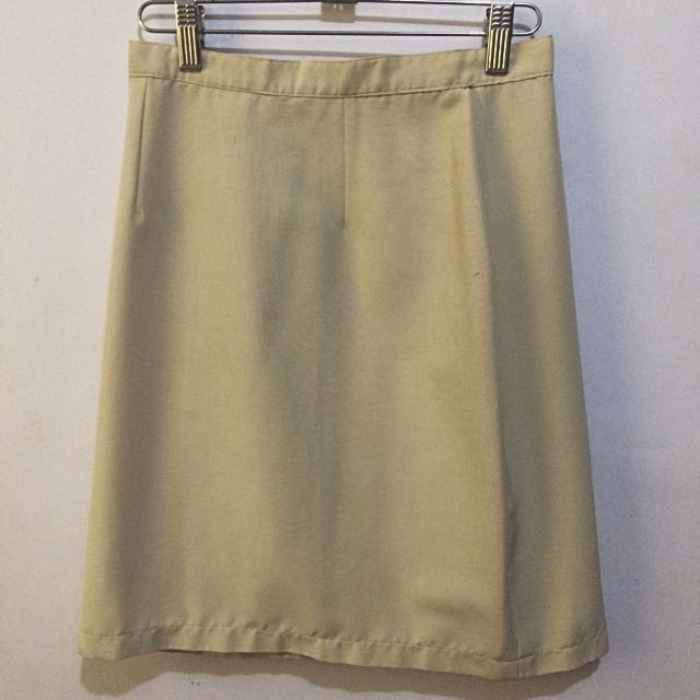 Beige High-Waist Skirt