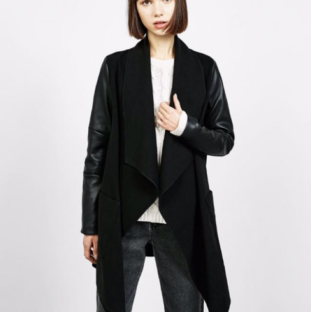 BERSHKA  POINTED WRAP COAT WITH LEATHER-EFFECT SLEEVES