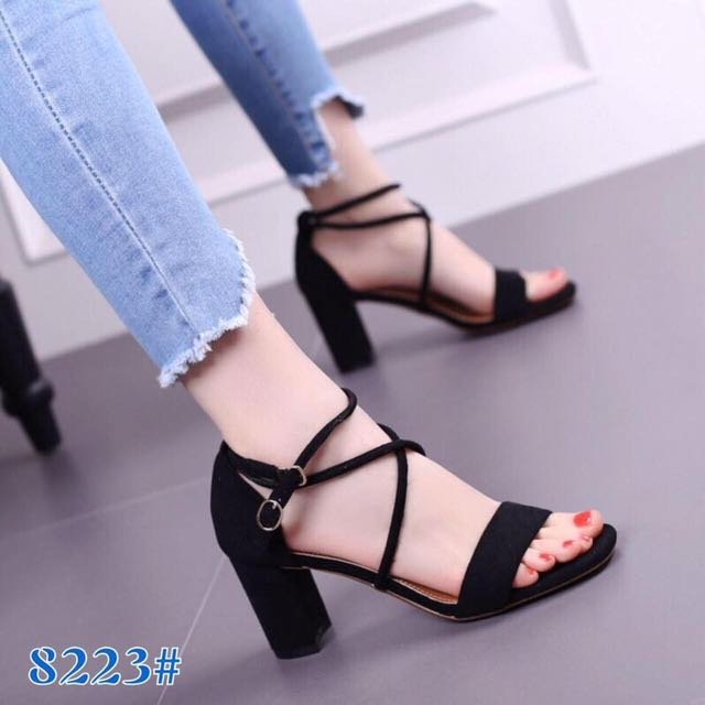 9e9e38c97b6 Black Ankle Strap Open Toe Chunky Heels Shoes