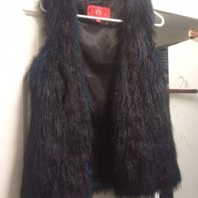 Black/blue Fur Vest