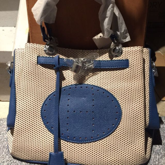 Blue And Brown Leather Bag