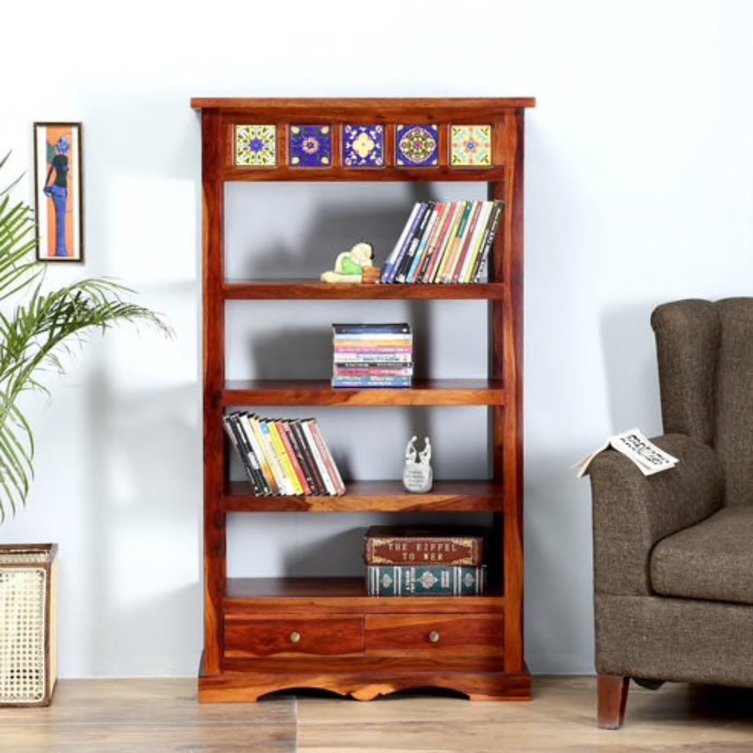 Bn Solid Wood Book Shelf In Honey Oak Finish