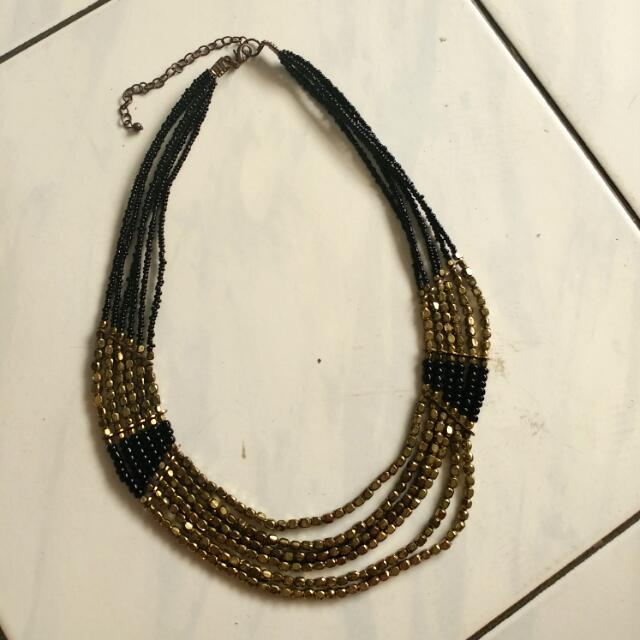 Bohemian Black Gold Necklace