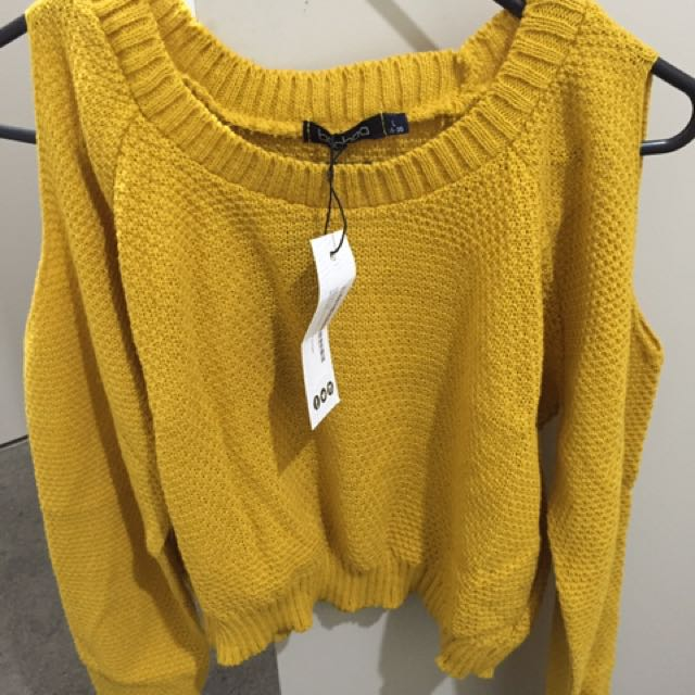 Brand New Boohoo Mustard Crop Knit