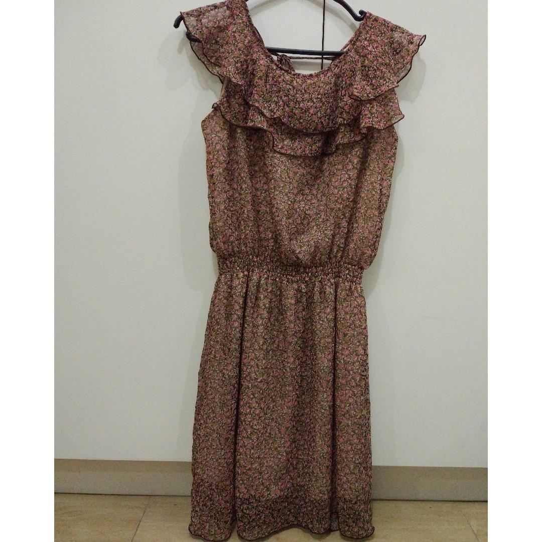 Brown Floral Dress