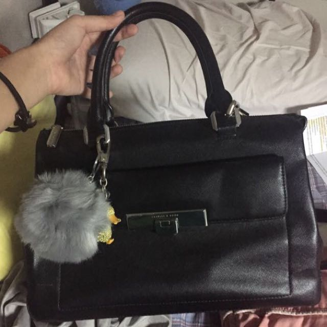 CHARLES & KEITH Black Canvas Sling Bag