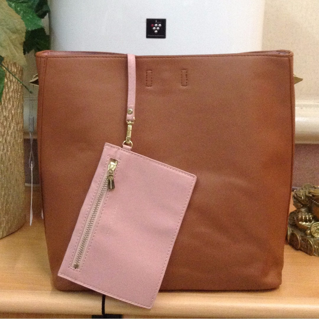 Charles and Keith Large Tote Bag Brown Colour