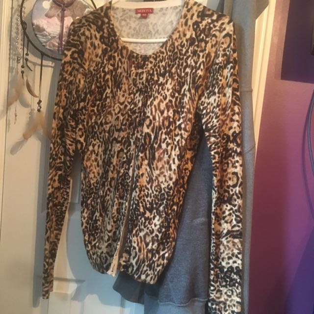 Cheetah Cotton Cardi Size M
