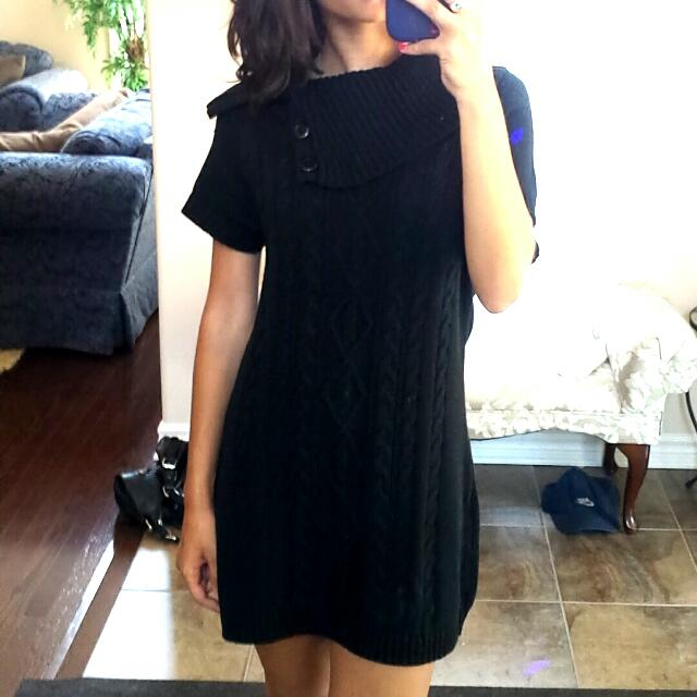 DESIGNER BLACK CABLE KNIT DRESS