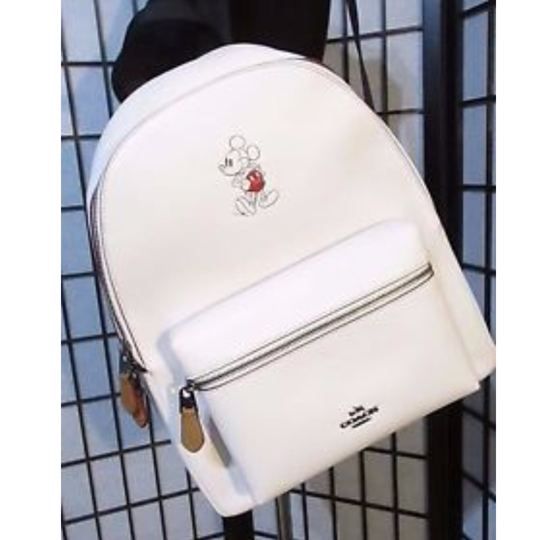 Disney x Coach Limited Edition Mickey Mouse Backpack Chalk White