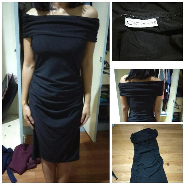 Drappery Black Dress