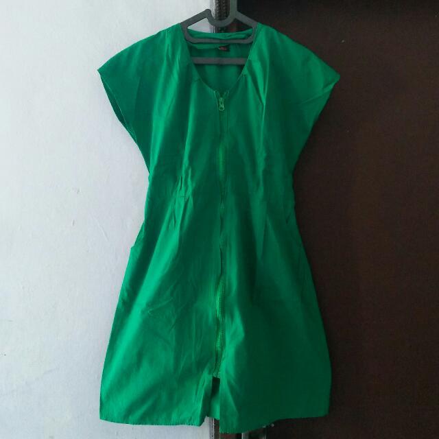 Dress Hijau Zipper (freeOng)
