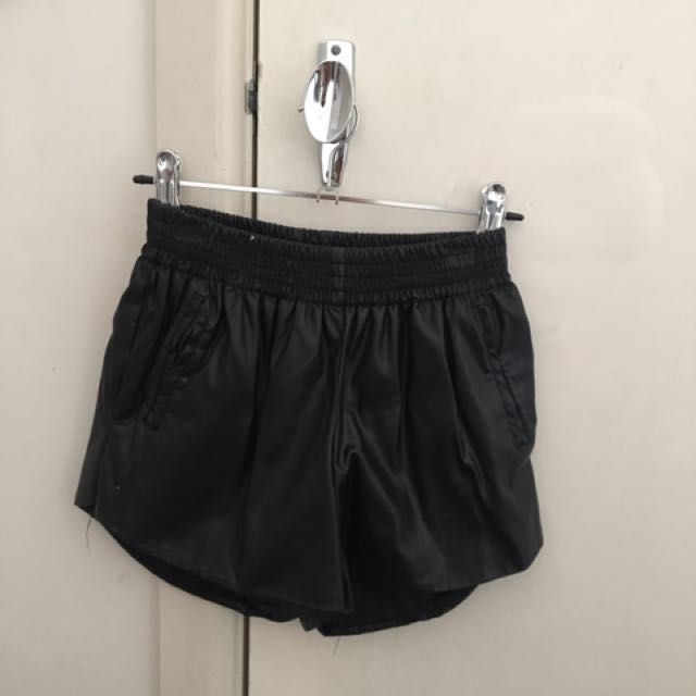 Fake Leather Shorts