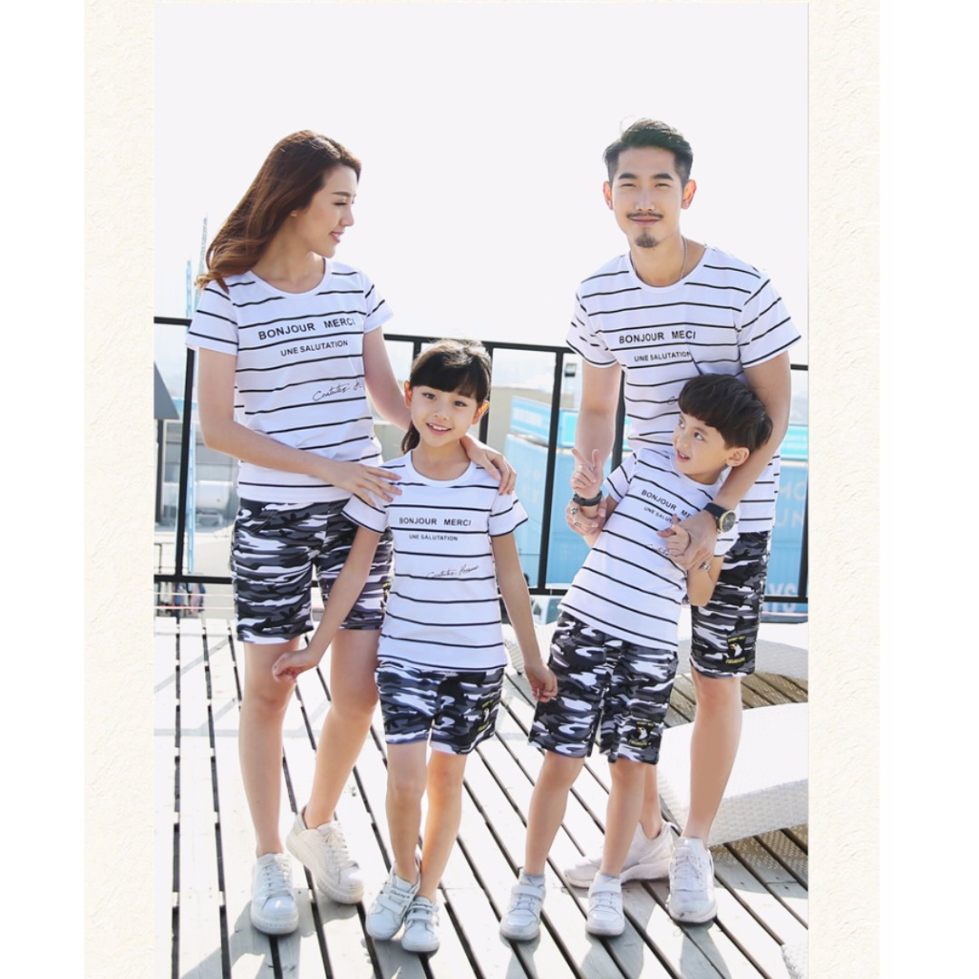 6599ae156 Family Bonjour Merci T-Shirt/ Couple T-Shirt with Pants, Babies & Kids,  Girls' Apparel on Carousell