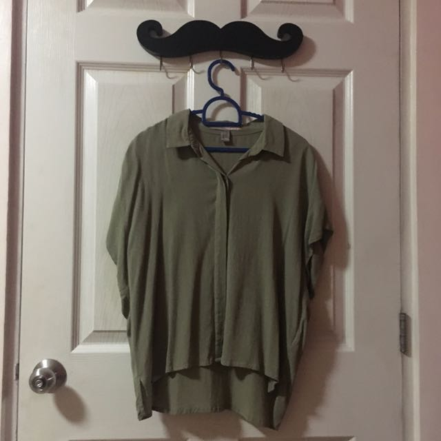 Forever 21 Olive Buttoned Down (Small)