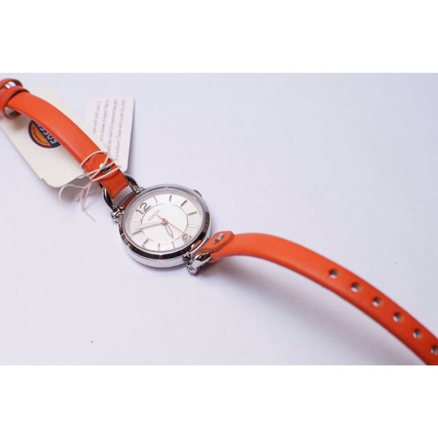 Fossil Georgia Silver Dial Coral Leather Ladies Watch ES3742