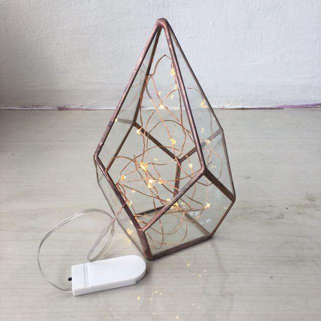 Geometric Glass Terrarium Fairy Lights Separate Furniture Home