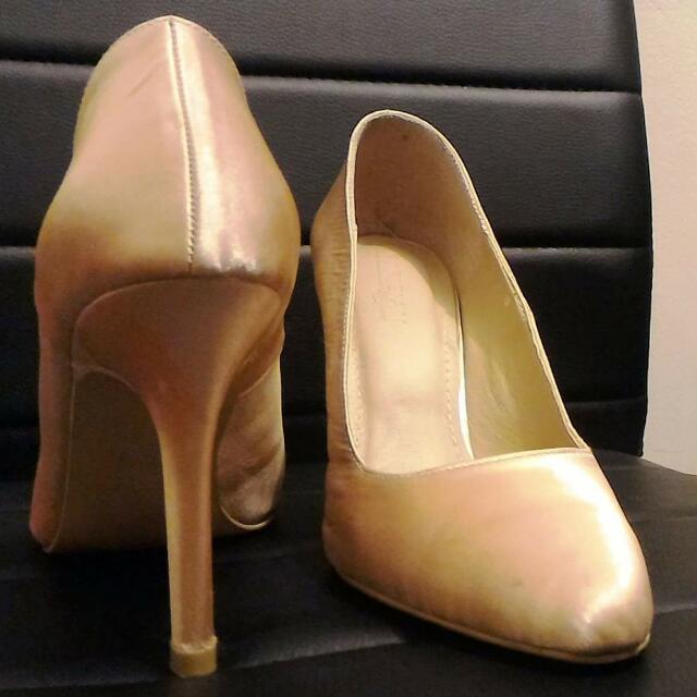 Gold Satin Formal Heels